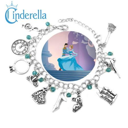 Disney Cinderella Charm Bracelet Movie Series Jewelry Multi Charms - Wristlet - Superheroes Brand Movie Collection - Disney Magic Band Charms