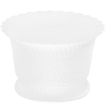 White Floral Pot - Unique Bargains 23cm Dia White Home Patio Garden Plastic Floral Design Cactus Aloe Plant Flower Pot
