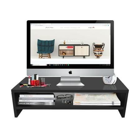 TY arts & culture - Desktop Monitor Stand,Wooden Monitor Stand Riser LED LCD Computer Monitor Riser Desktop Organizer Display Shelf for Computer Monitor Laptop TV Printer without baffle(Black)