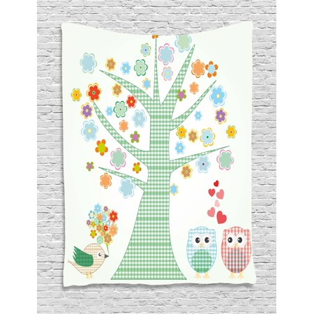 Nursery Tapestry, Romantic Owls In Love and Big Tree with Colorful Blossoms Bird Bouquet, Wall Hanging for Bedroom Living Room Dorm Decor, 40W X 60L Inches, Mint Green Multicolor, by Ambesonne