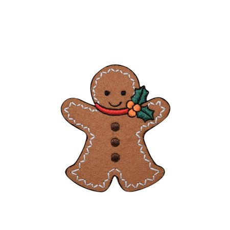 Christmas Gingerbread Man With Holly Large Iron On Applique Embroidered Patch