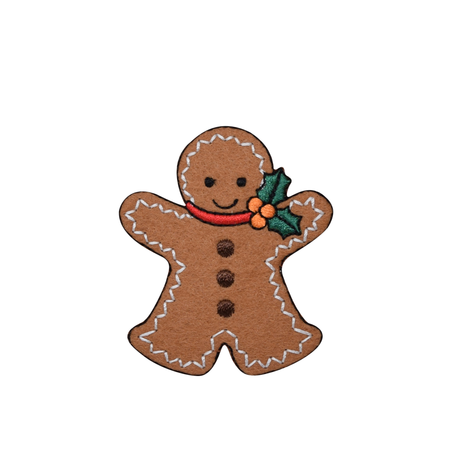 Christmas - Gingerbread Man with Holly - LARGE - Iron on Applique /Embroidered Patch