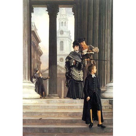 Visitors to St Pauls cathedral look at  a book on London as they stand beneath fluted Greek columns and as young French schoolboy walks down the stairs to the front Poster Print by James Tissot