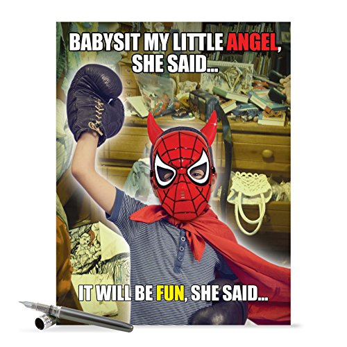 J0216 Jumbo Funny Mother's Day Card: Babysit My Angel, Extra Large Greeting Card With Envelope - NobleWorks