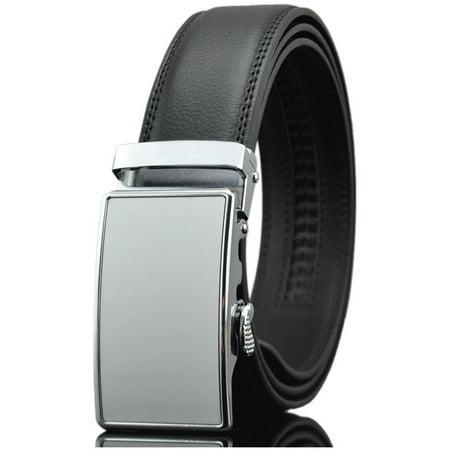 Men's Dress Belt Genuine Leather Automatic Buckle Ratchet Belt, Adjustable Exact Fit Belt ()