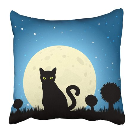 Halloween Window Silhouettes Cat Eyes (ARHOME Lucky Halloween Black Cat Silhouette Against Moon Night Sky Unlucky Dark Eyes Feline Pillow Case Cushion Cover 20x20)