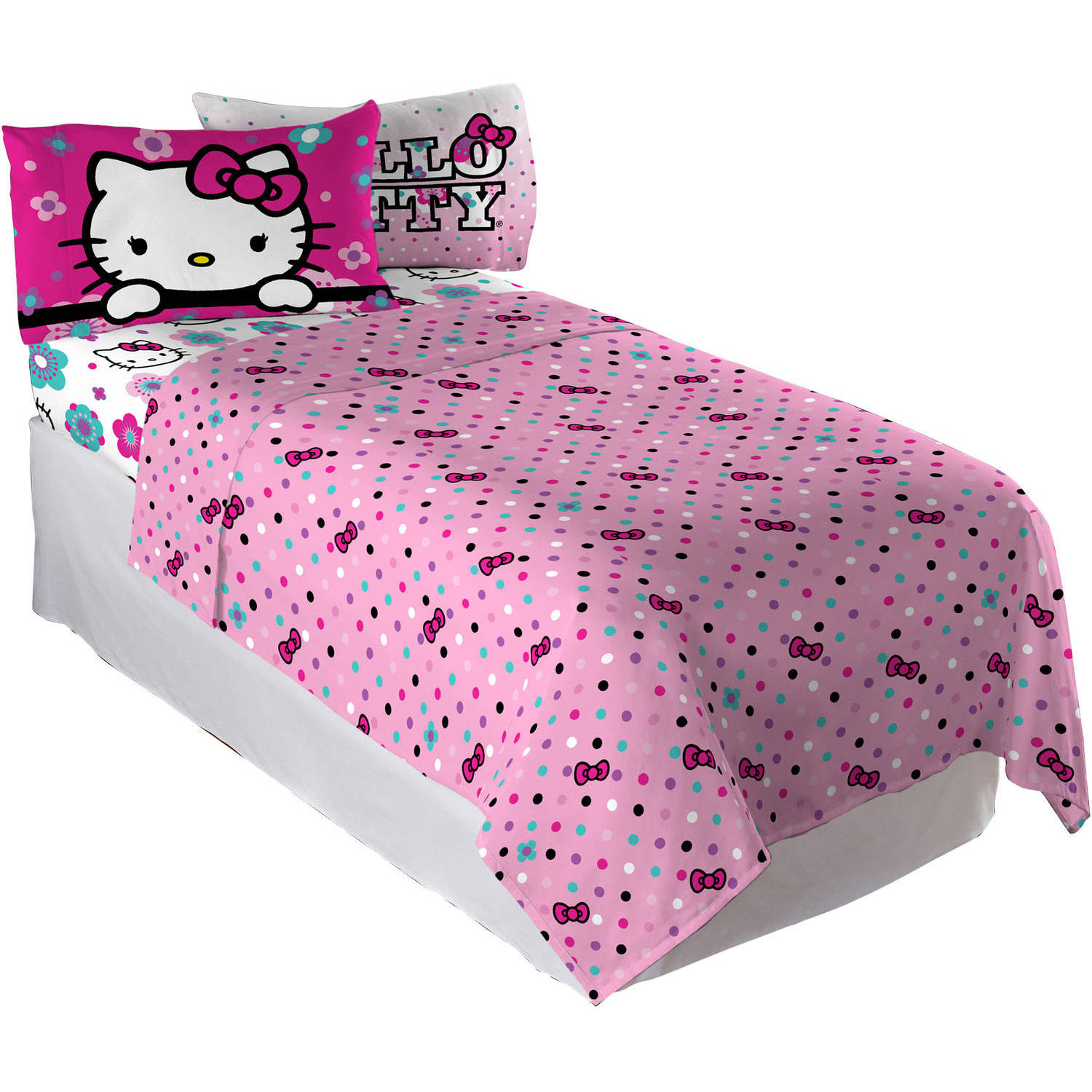 Hello Kitty Floral Ombre Bedding Sheet Set