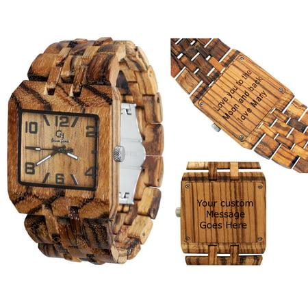 Men's watch-custom engraving-Personalized watch -Wood watch-Wooden watch-Wood engraving-Custom watch-Christmas gift-Wedding gift-Anniversary gift - Men's watch Style Omega III Zebrawood