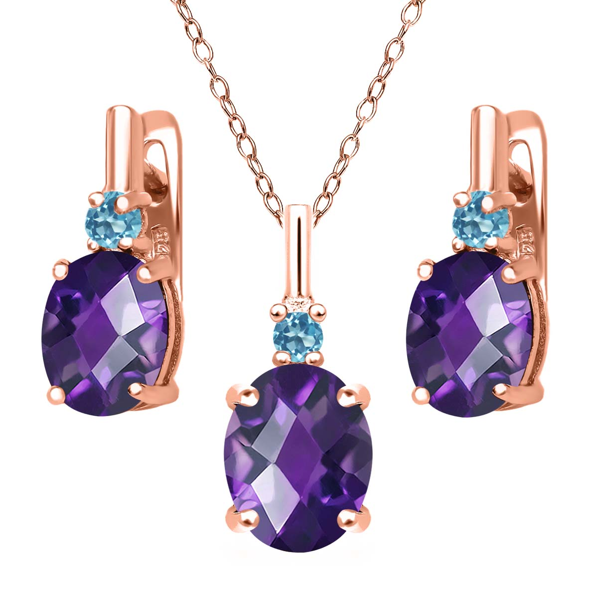 4.88 Ct Amethyst Simulated Topaz 18K Rose Gold Plated Silver Pendant Earring Set by