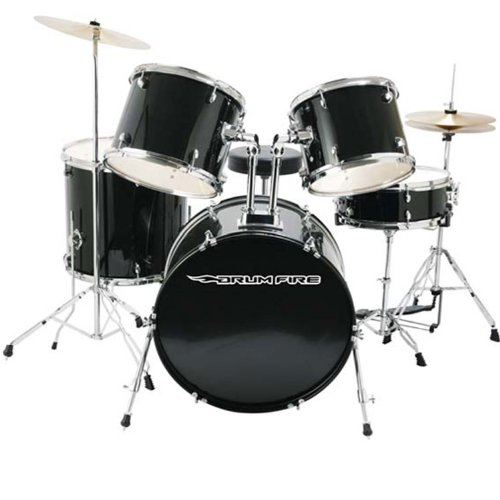 DrumFire Drum Set with Drum Throne, Sticks, Drum Key, and Cymbals (Black) by