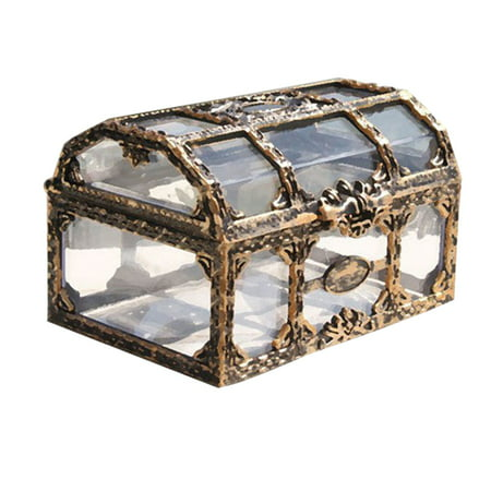 Plastic Transparent Pirate Treasure Box Crystal Gem Jewelry Box Storage Organizer Trinket Keepsake Treasure