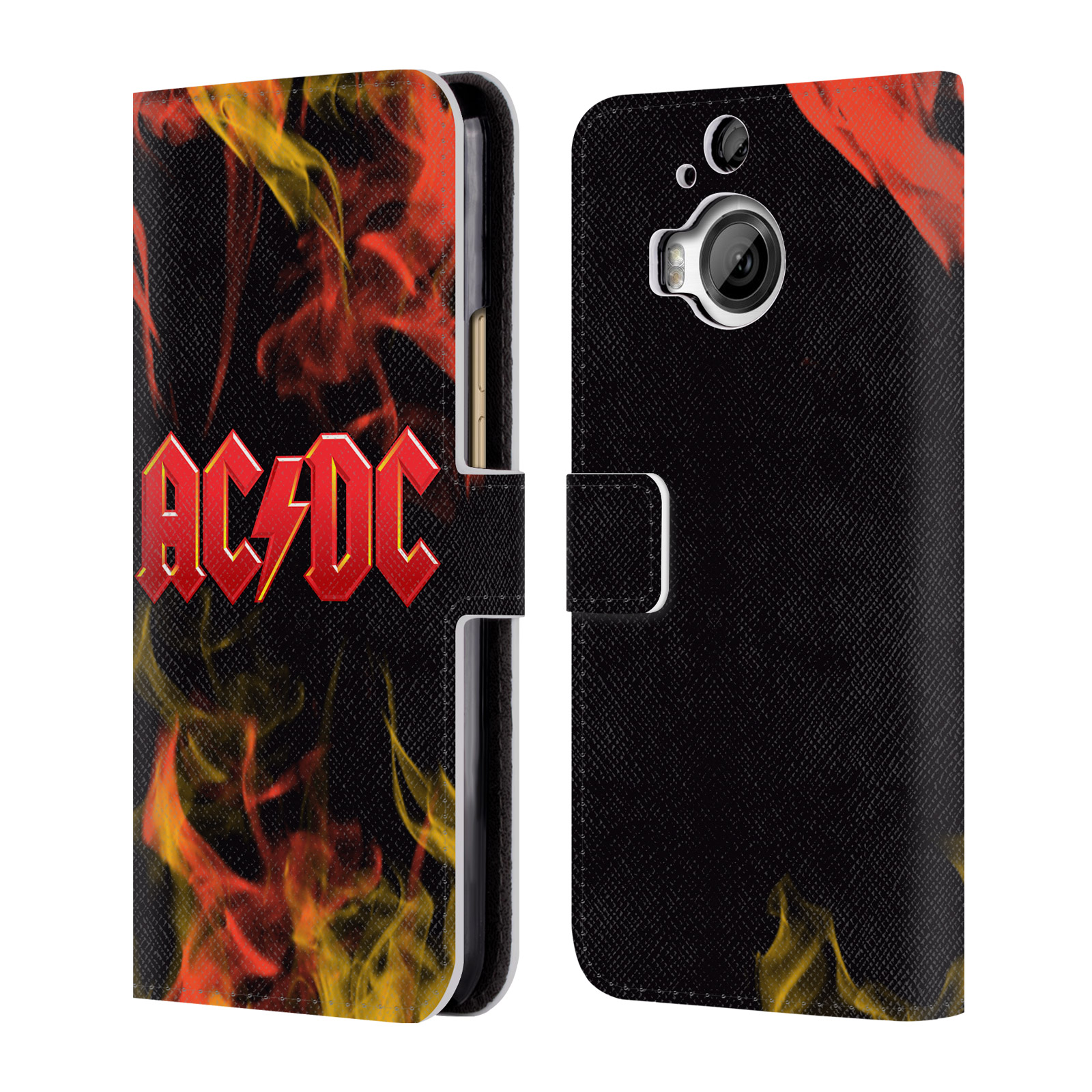 OFFICIAL AC/DC ACDC LOGO LEATHER BOOK WALLET CASE COVER FOR HTC PHONES 1