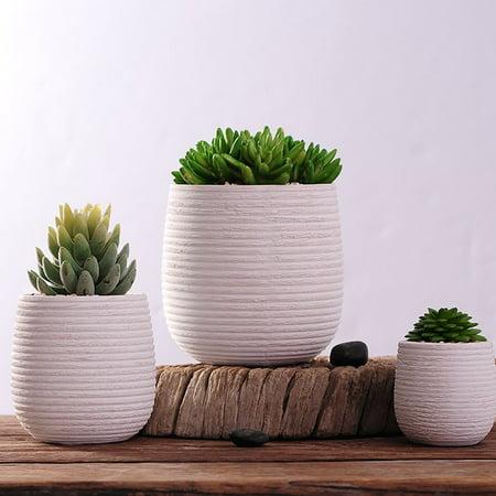 Mr.Garden Simple Style Flower Pot Container Window Box Decorative White 3.1-Inch Round ()
