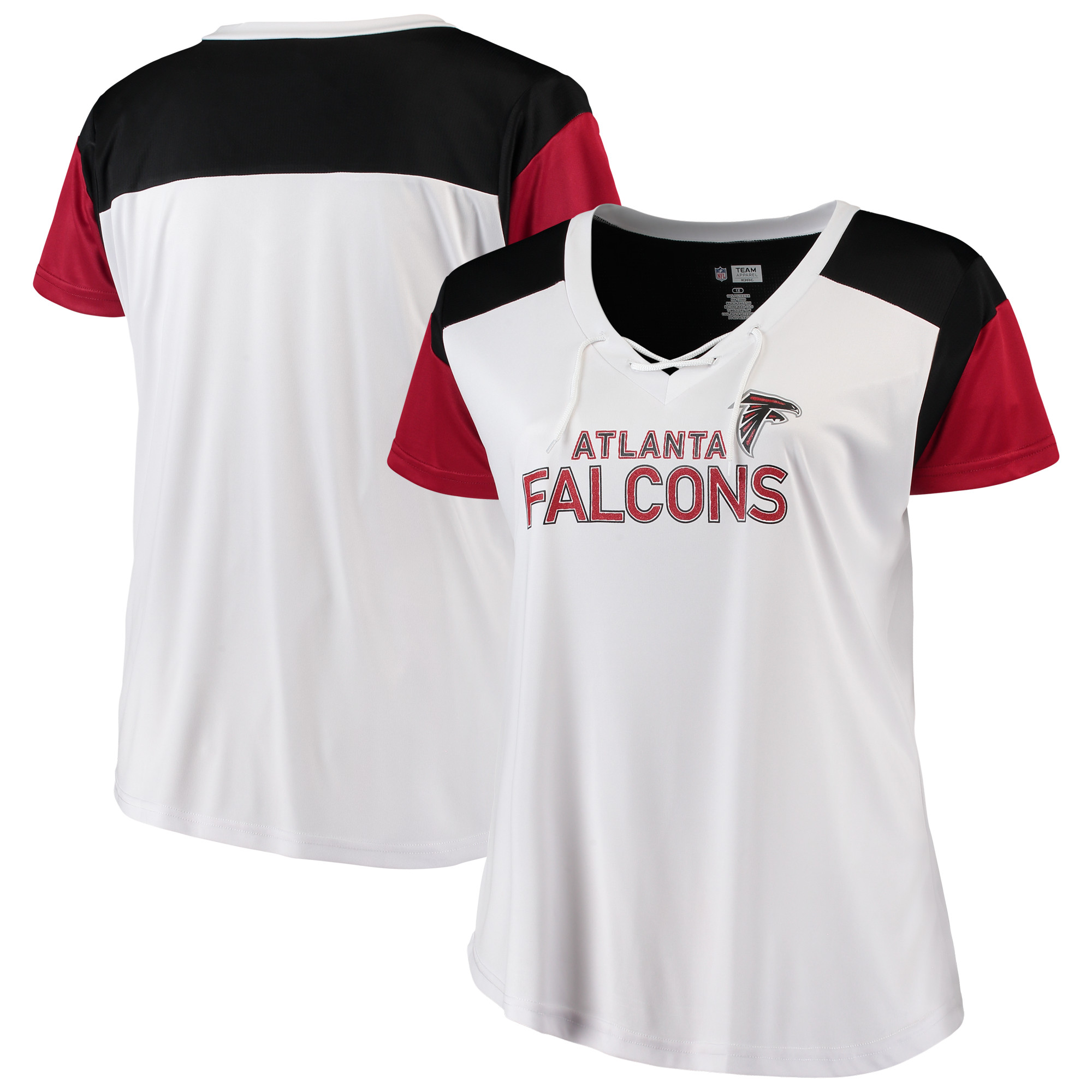 Atlanta Falcons Majestic Women's Lace-Up V-Neck T-Shirt - White/Red