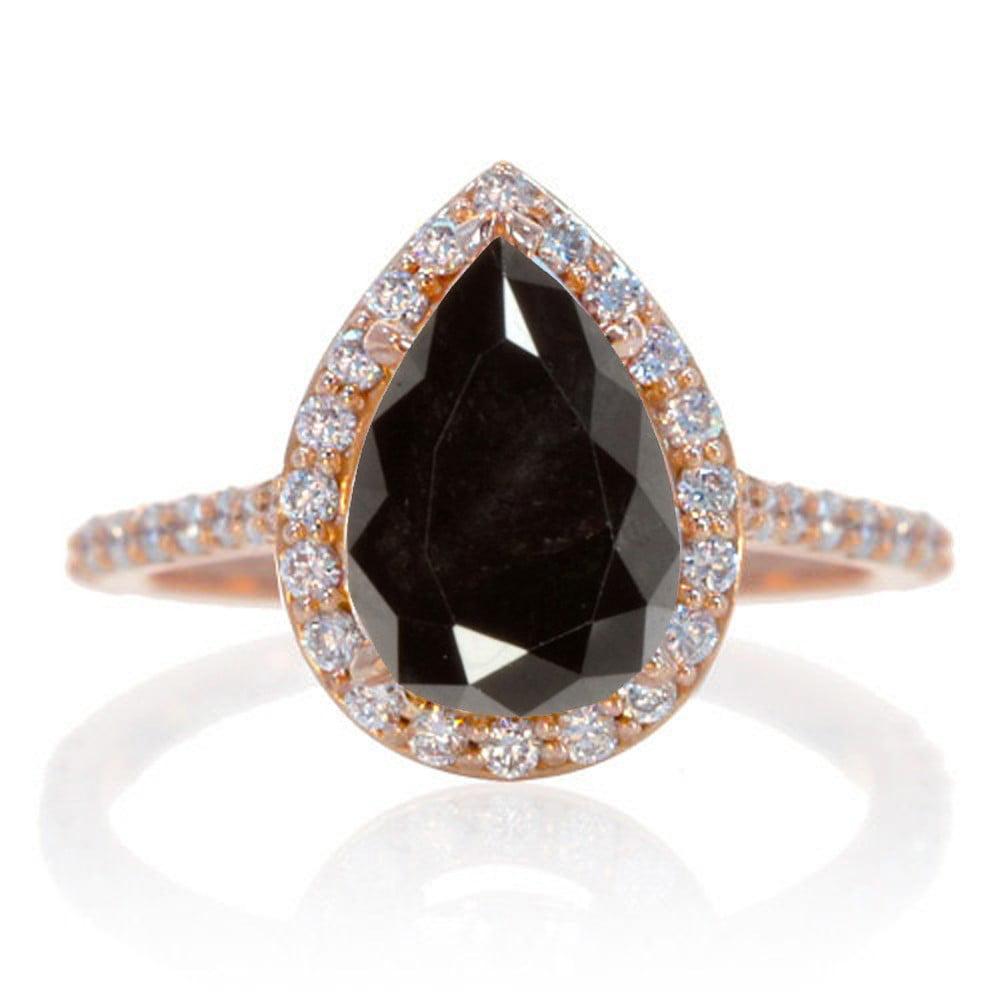 Jeenjewels 2 Carat Black Diamond And Diamond Halo Bridal Ring Set On 10k Rose Gold Walmart Com Walmart Com