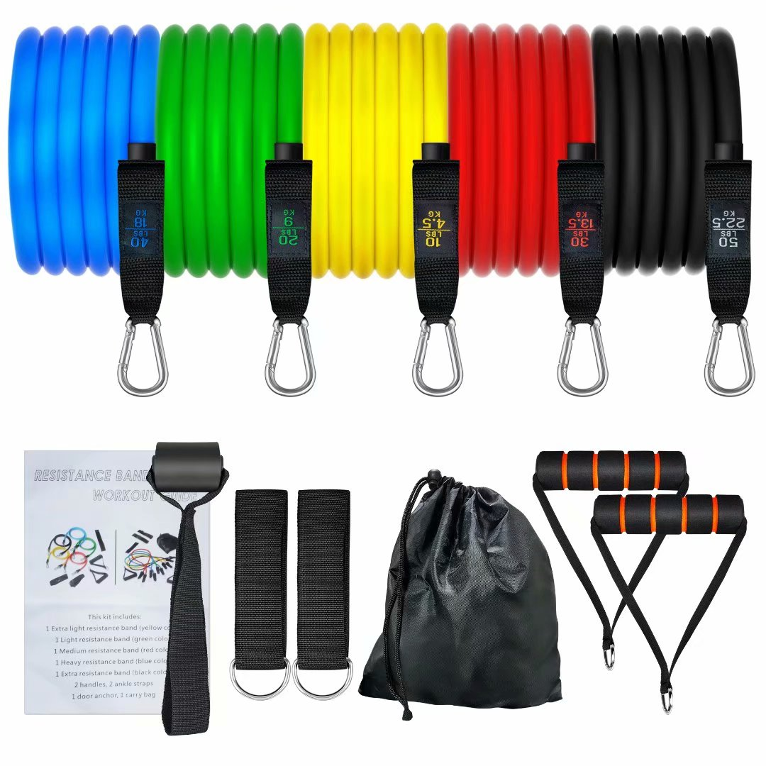 11pcs Handles Workout Bands with Door Anchor Exercise Bands for Resistance Training Stackable Up to 150 lbs SEEHONOR Resistance Bands Set Ankle Straps and Carry Bag