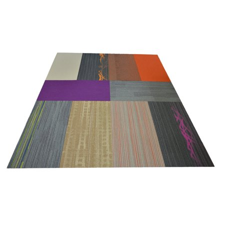 "Dean Flooring Company Affordable 36"" x 18"" Commercial Carpet Tile - Random Assorted Colors - 45 Square Feet (10 Pieces)"
