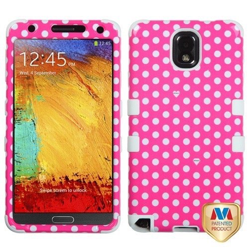 Samsung N9000 Galaxy Note 3 MyBat TUFF Hybrid Protector Case, Dots (Pink/White)/White