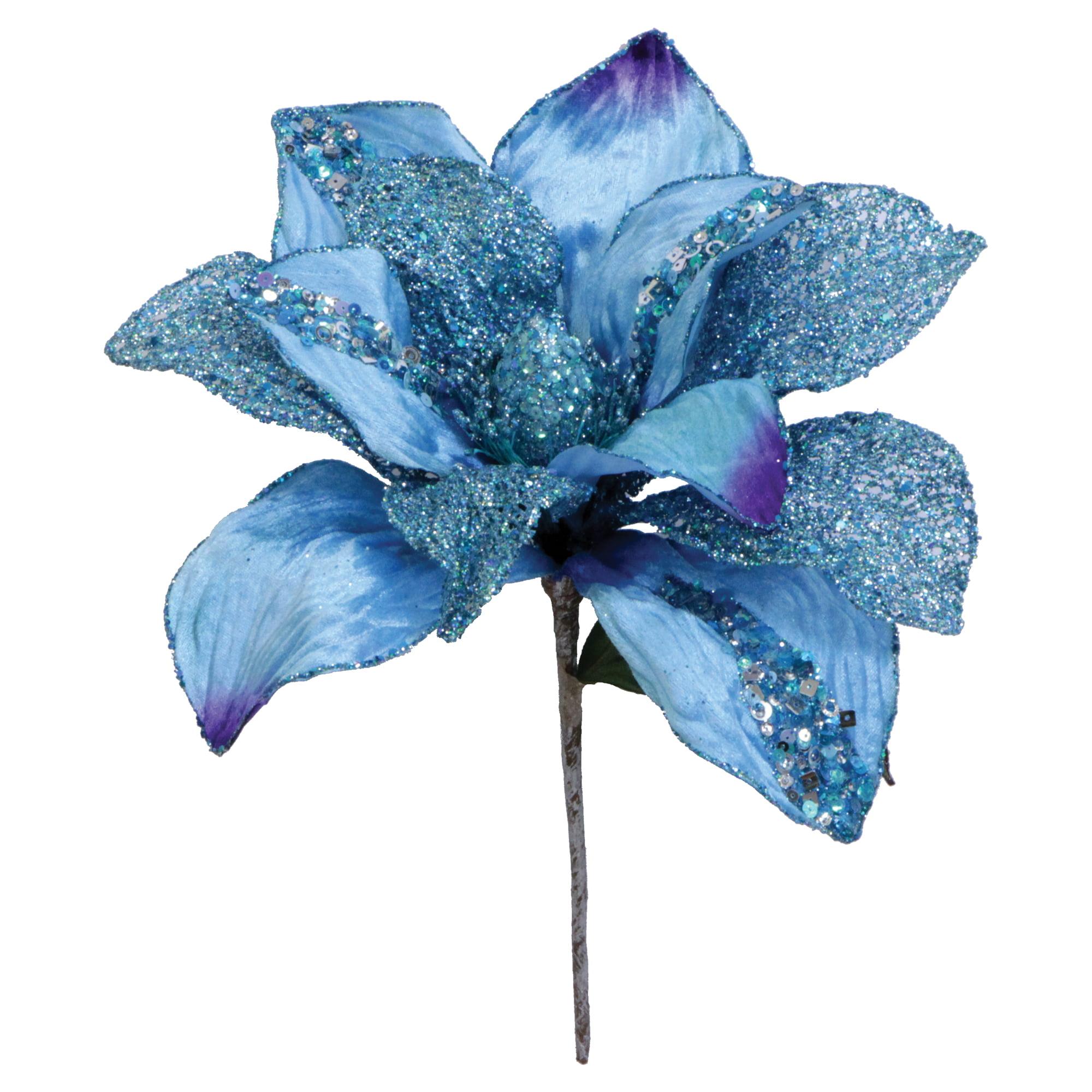 "Vickerman 31"" Aqua Glitter Magnolia 13"" Flower"