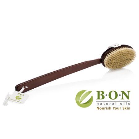 B.O.N. Skincare Dry Brushing Body Brush - 100% Natural Boar Bristles & Long Detachable Handle ()