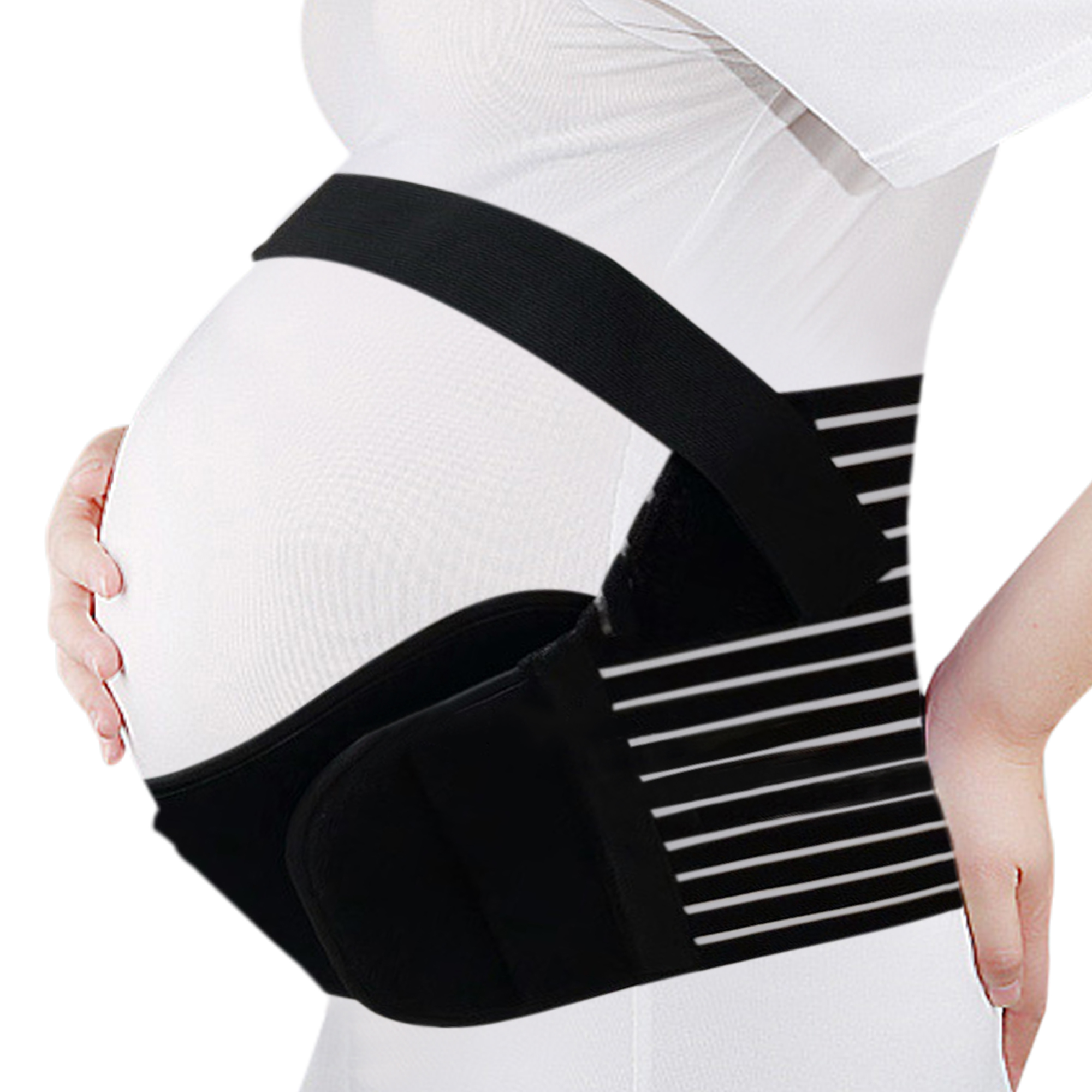 (Black,XL) Maternity Support Belt Pregnancy Belly Band Antepartum Abdominal Back Support