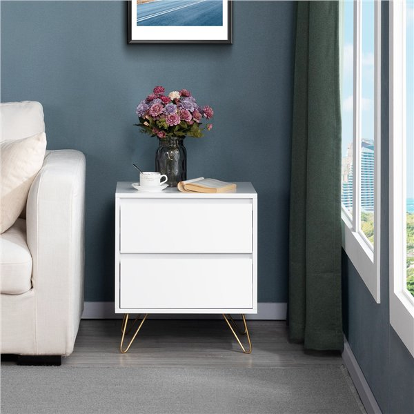 yaheetech white storage end table with iron legs and 2