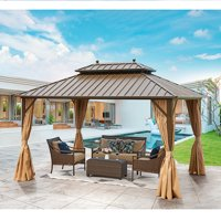 EROMMY 10' X 13' Hardtop Gazebo Galvanized Steel Outdoor Gazebo Canopy Double Vented Roof Pergolas Aluminum Frame with Netting and Curtains for Garden,Patio,Lawns,Parties