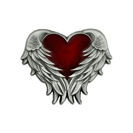 Antique Nickel Heart with Angel Wings Enamel Lapel Pin Heart Bar Pin