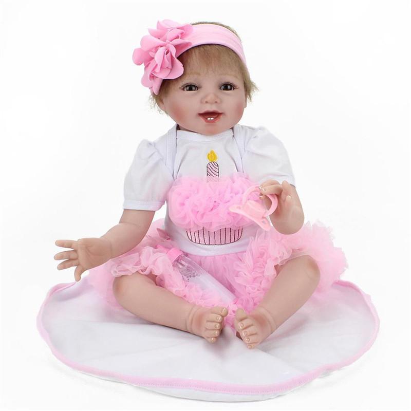 "22/"" Handmade Lifelike Reborn Baby Girl Doll Silicone Vinyl Newborn Dolls+Clothes"
