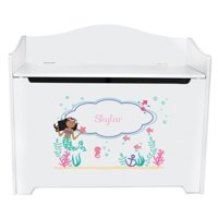 Personalized African American Mermaid Princess White Toy Box Bench