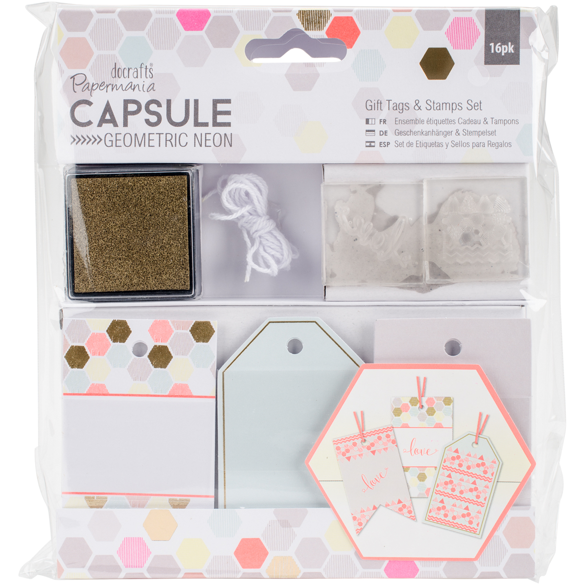 Papermania Geometric Neon Gift Tags & Stamps Set 16/Pkg-