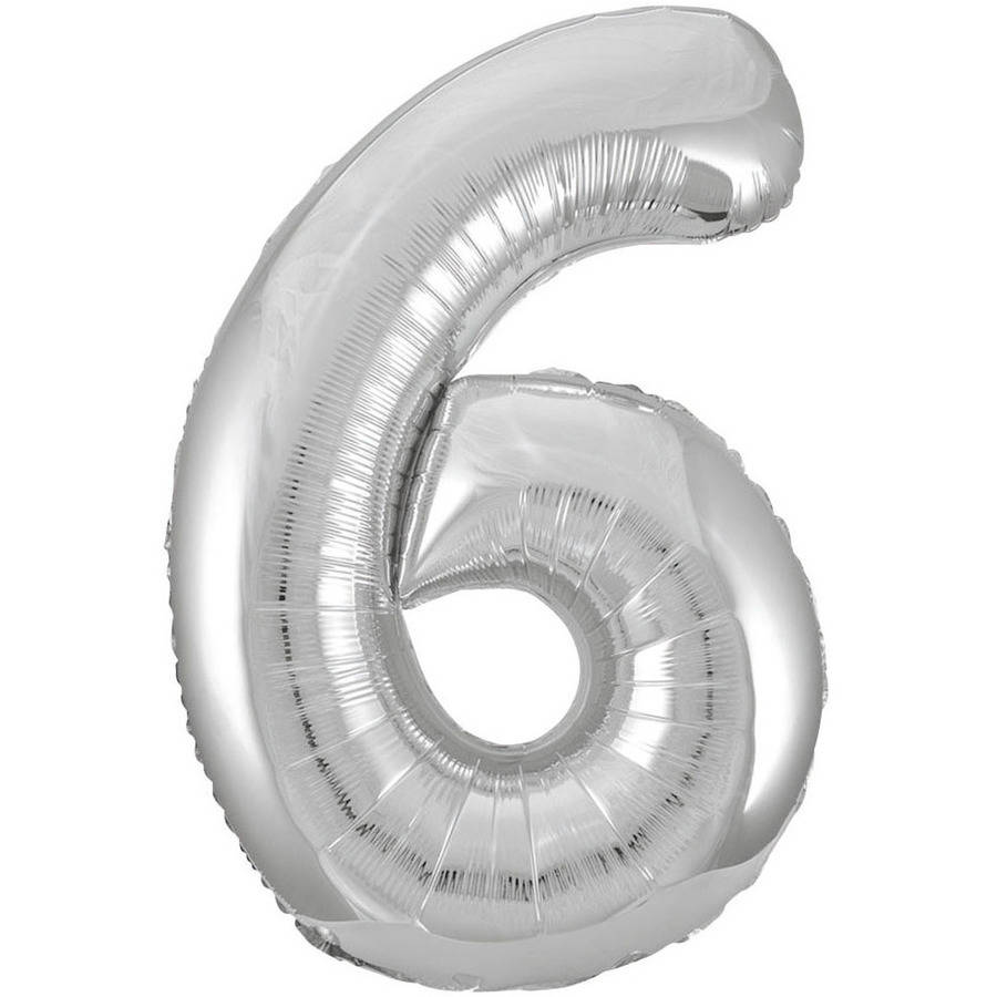 Foil Big Number Balloon, 6, 34 in, Silver, 1ct