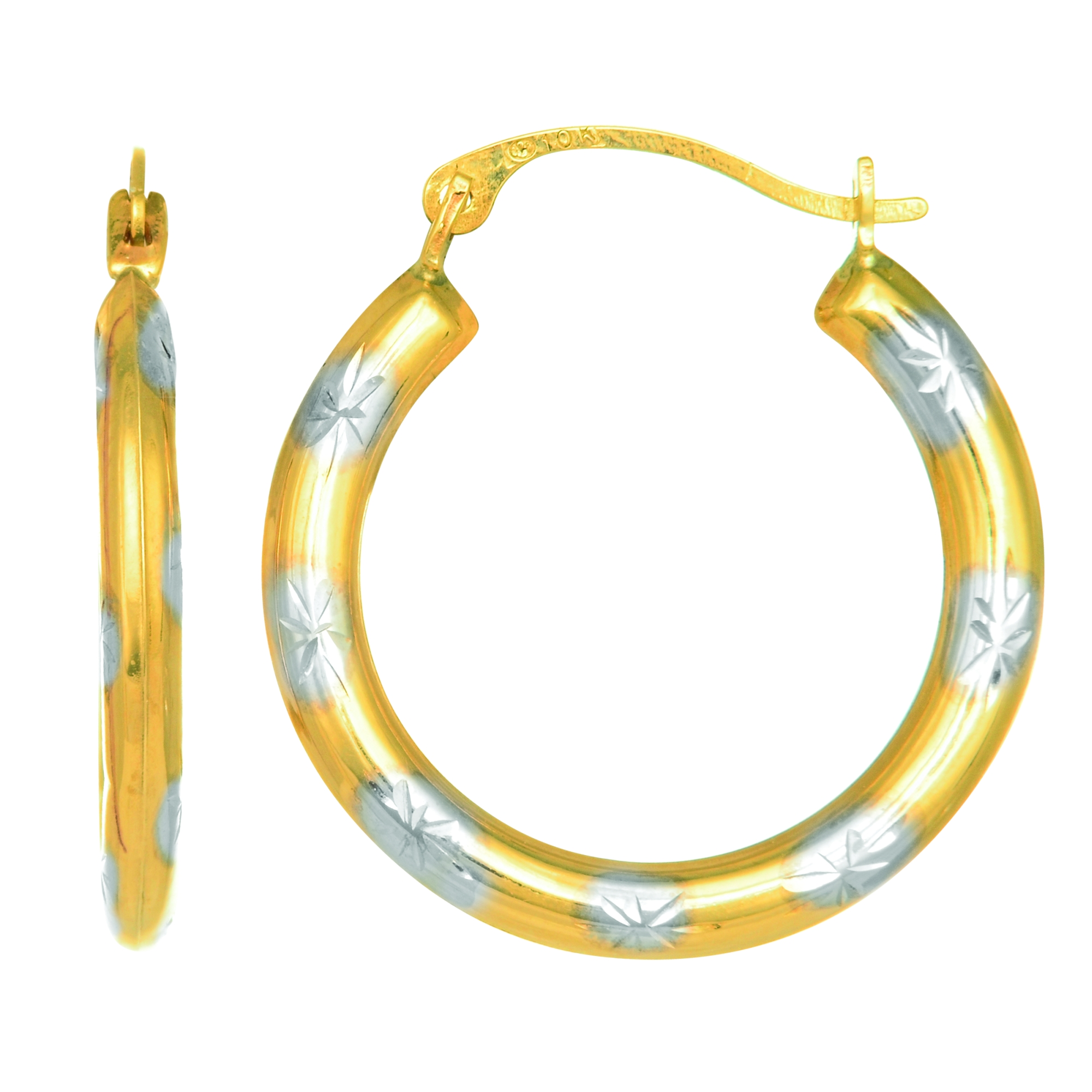 10K Yellow White Gold Two Tone Round Tube Hoop Earring