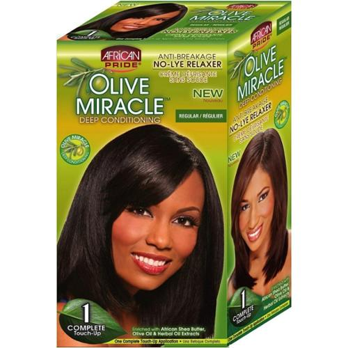 African Pride Olive Miracle Deep Conditioning No-Lye Relaxer - Regular Kit 1 ea (Pack of 4)