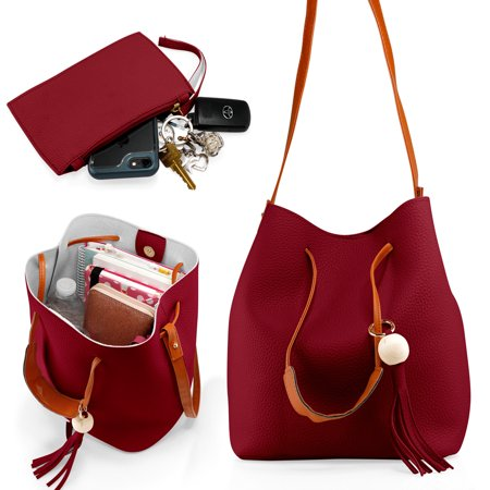 Fashion Tassel buckets Tote Handbag Women Messenger Hobos Shoulder Bags Crossbody Satchel Bag - Red