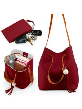 Product Image Fashion Tassel buckets Tote Handbag Women Messenger Hobos Shoulder  Bags Crossbody Satchel Bag - Red 80fab5cc74041