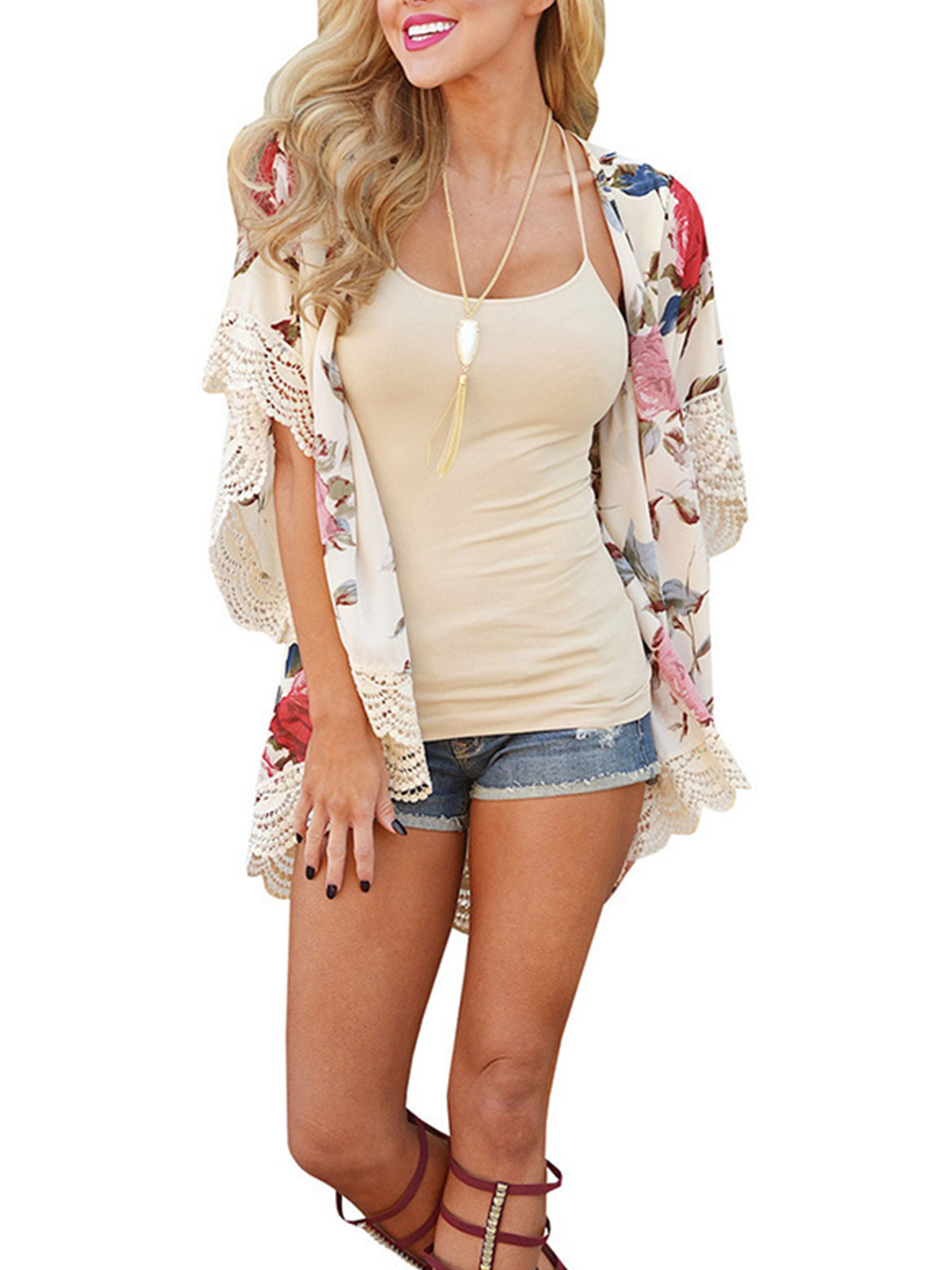 Women Chiffon Shawl Kimono Coat Cardigan Tops Floral Beach Cover Up Blouse Summer Beachwear Casual Loose Shirt