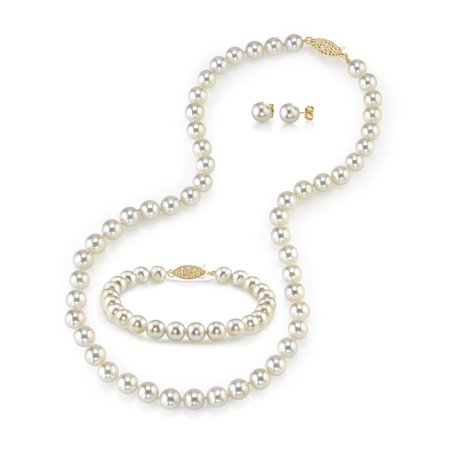 14K Gold 6.0-6.5mm White Akoya Cultured Pearl Necklace, Bracelet & Earrings Set, 17