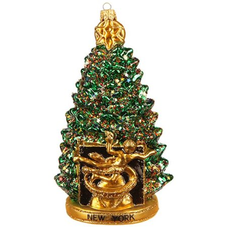 New York City Rockefeller Center Christmas Tree Polish Glass Ornament Decoration](Pool City Christmas Decorations)