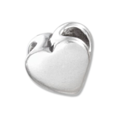 STERLING SILVER HIGH POLISH HEART SHAPE SPACER BEAD
