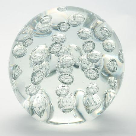 Amber Paperweight - Diamond Star Glass Ball Paperweight