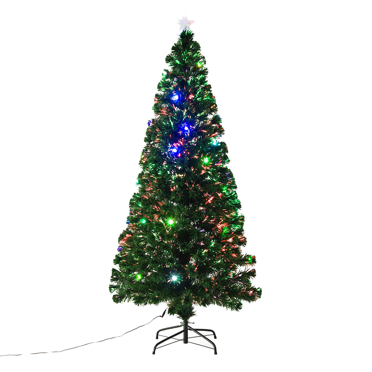 HOMCOM 6 ft Tall Artificial Fiber Optic LED Pre-Lit Holiday Christmas Tree