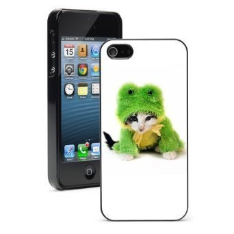 Apple iPhone 6 6s Hard Color Back Case Cover Protector Cute Kitten in Frog Costume (Black) (Kitten Costumes)