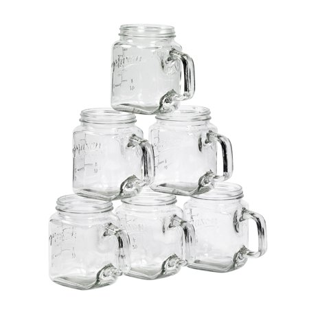 Mason Craft and More 24 Ounce Square Glass Mugs, Set of 6
