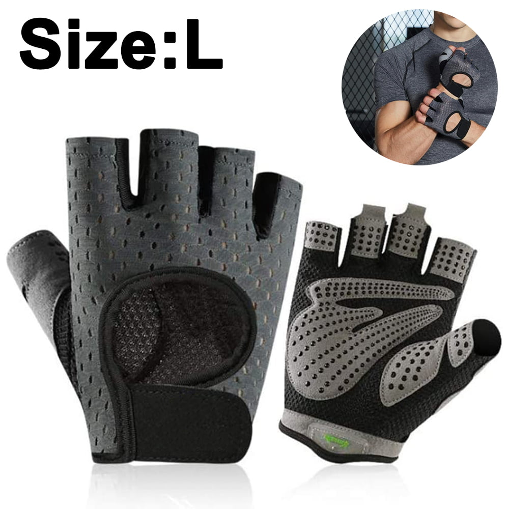 A Pair Protect Hand Palm Glove elastic Black Athlete Sport Bicycle Cycling gray