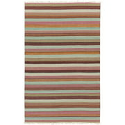 4' x 6' Calming Horizons Striped Brown, Blue and Wisteria Purple Hand Woven Wool Area Throw Rug
