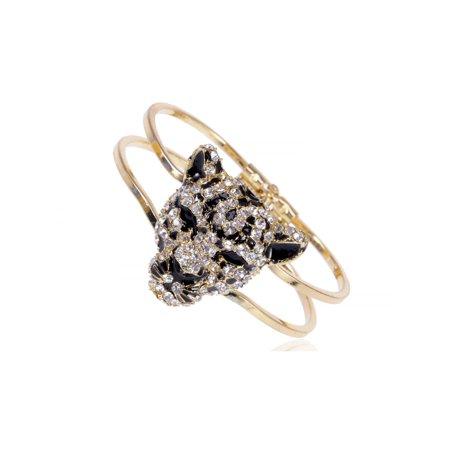 Gold Toned Blk Enamel Clear Crystal Rhinestone Cheetah Face Cuff Bracelet Bangle (Rhinestone Cheetah)