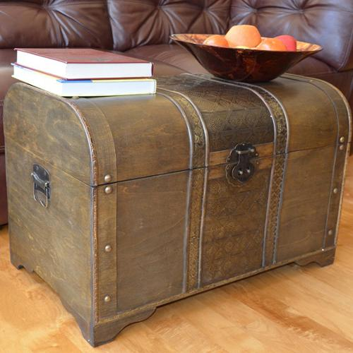 Styled Shopping Inc Old Fashioned Walnut Large Treasure Chest Wood Trunk