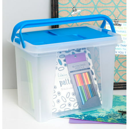 IRIS Letter Size Portable Hanging File Storage Box with Wing Lid, Blue Set of 4