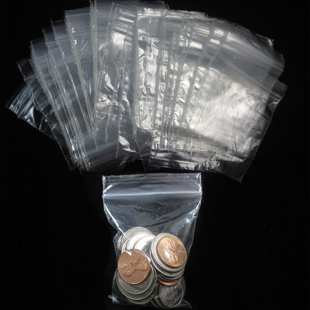 """200 W 2"""" x 3"""" H Reclosable Clear Plastic Poly Bags Small Baggies 2 Mil"""